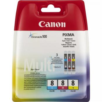 Inkoustová náplň Canon CLI-8 CMY, 420 stran - originální červená/modrá/žlutá