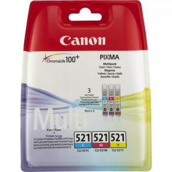 Inkoustová náplň Canon CLI-521, 350 stran modrá/žlutá/růžová