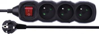 Kabel prodlužovací EMOS 3x zásuvka, 1,5m, vypínač černý