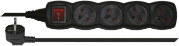 Kabel prodlužovací EMOS 4x zásuvka, 3m, vypínač černý