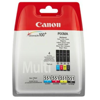 Inkoustová náplň Canon CLI-551, 4x 7ml - originální černá/červená/modrá/žlutá