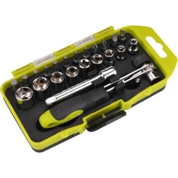 Sada šroubováků EXTOL Craft 53090 ráčnové s ořechy a hroty, 23 ks