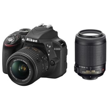 Digitální fotoaparát Nikon D3300 + 18-55 AF-S DX VR + 55-200 VR černý