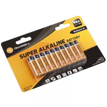 Baterie alkalická GoGEN SUPER ALKALINE AAA, LR03, blistr 10 ks černá/oranžová