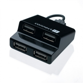 USB Hub Connect IT (CI-108) USB 2.0 / 4x USB 2.0 černý