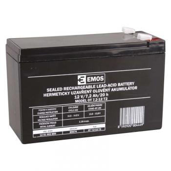 Olověný akumulátor EMOS bezúdržbový 12 V/7,2 Ah, faston 6,3 mm
