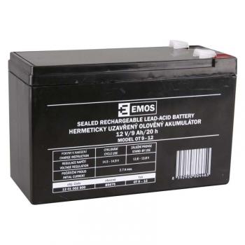 Olověný akumulátor EMOS bezúdržbový 12 V/9 Ah, faston 6,3 mm