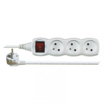 Kabel prodlužovací EMOS 3x zásuvka, vypínač, 1,2m bílý