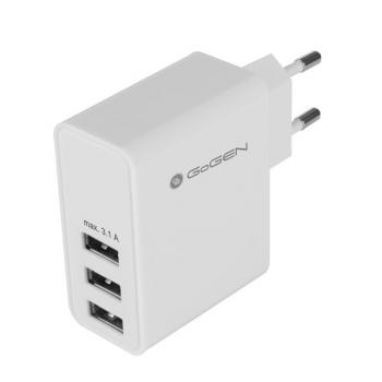 Nabíječka do sítě GoGEN ACH 300, 3x USB, 3,1A bílá