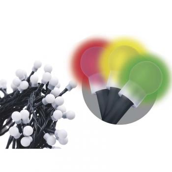 Vánoční osvětlení EMOS 80 LED, kulička, 8m, řetěz, vícebarevná, časovač, i venkovní použití