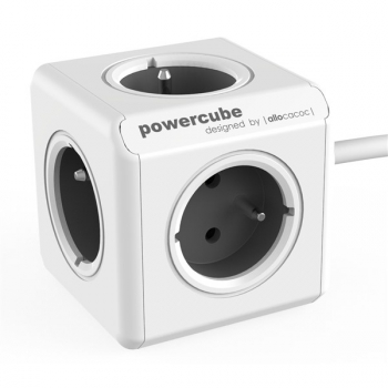 Kabel prodlužovací Powercube Extended 5x zásuvka, 1,5m šedý/bílý