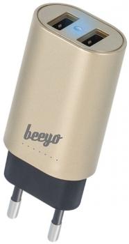 Nabíječka do sítě Beeyo 2x USB, 3,4A zlatý