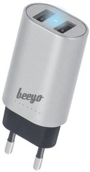 Nabíječka do sítě Beeyo 2x USB, 3,4A stříbrný