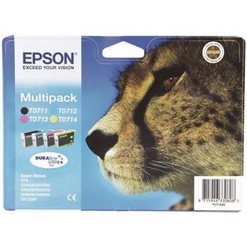 Inkoustová náplň Epson T0715, 3x 6ml, 1x 7ml - originální černá/červená/modrá/žlutá