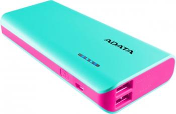 Powerbank ADATA PT100 10000mAh modrá/růžová