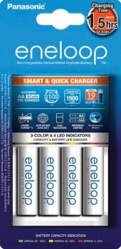 Nabíječka Panasonic Eneloop Smart-Quick Charger pro AA,AAA + 4x Panasonic Eneloop 1900mAh bílá