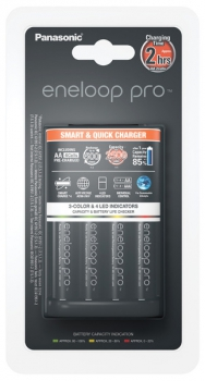 Nabíječka Panasonic Eneloop Smart-Quick Charger pro AA,AAA + 4x AA Panasonic Eneloop Pro 2500mAh černá
