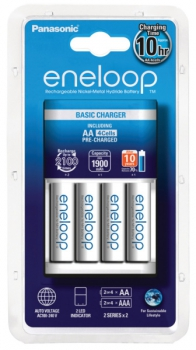 Nabíječka Panasonic Eneloop Basic Charger pro AA, AAA + 4x Panasonic Eneloop 1900mAh bílá