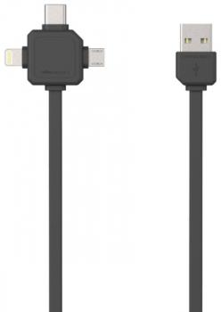 Kabel Powercube USB/micro USB + Lightning + USB-C, 1,5m černý