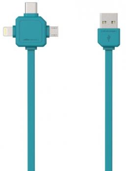 Kabel Powercube USB / MicroUSB + Lightning + USB-C, 1,5m modrý
