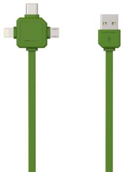 Kabel Powercube USB/micro USB + Lightning + USB-C, 1,5m zelený