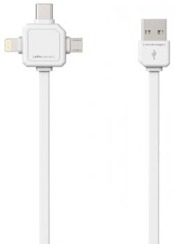 Kabel Powercube USB/micro USB + Lightning + USB-C, 1,5m bílý