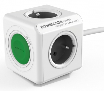 Kabel prodlužovací Powercube Extended Switch, 4x zásuvka, 1,5m šedý/bílý/zelený