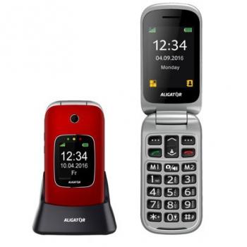 Mobilní telefon Aligator V650 Senior stříbrný/červený