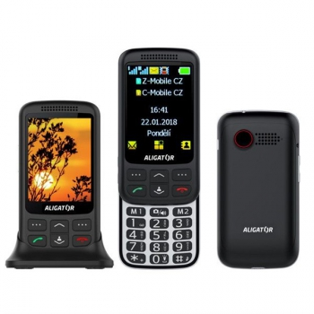 Mobilní telefon Aligator VS 900 Senior Dual SIM černý/stříbrný