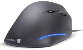 Myš Connect IT Vertical Ergonomic černá (/ optická / 6 tlačítek / 1600dpi)