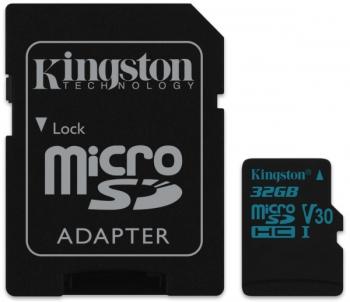Paměťová karta Kingston Canvas Go! MicroSDHC 32GB UHS-I U3 (90R/45W) + adapter
