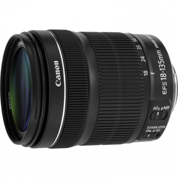 Objektiv Canon EF-S 18-135 mm f/3.5-5.6 IS STM + EW73B + LC kit černý