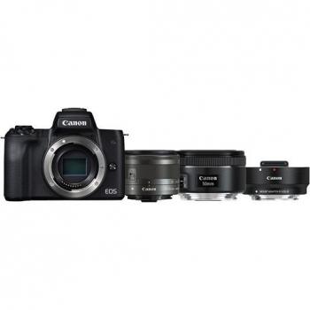 Digitální fotoaparát Canon EOS M50 + M 15-45 IS STM + obj. 50/1.8 + ADAPTER černý