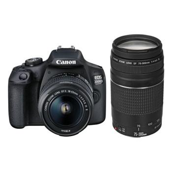 Digitální fotoaparát Canon EOS 2000D + 18-55 IS II + 75-300 černý