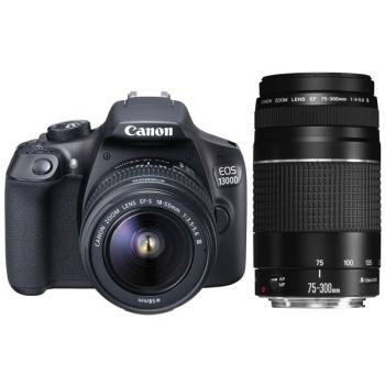 Digitální fotoaparát Canon EOS 1300D + 18-55 EF-S DC III + 75-300 DC + Value UP Kit černý