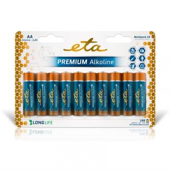 Baterie alkalická ETA PREMIUM ALKALINE AA, LR06, blistr 10ks