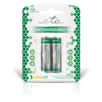 Baterie nabíjecí ETA AA, HR06, 2600mAh, Ni-MH, blistr 2ks