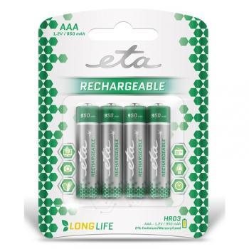 Baterie nabíjecí ETA AAA, HR03, 950mAh, Ni-MH, blistr 4ks