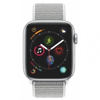Chytré hodinky Apple Watch Series 4 GPS 44mm pouzdro ze stříbrného hliníku - mušlově bílý provlékací sportovní řemínek SK verze