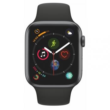 Chytré hodinky Apple Watch Series 4 GPS 44mm pouzdro z vesmírně šedého hliníku - černý sportovní řemínek SK verze