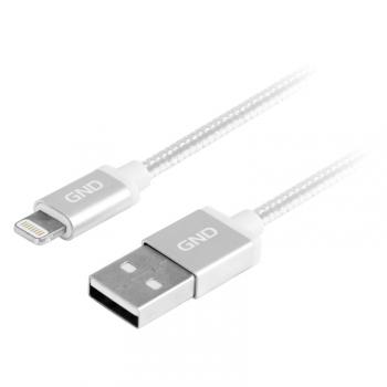 Kabel GND USB / lightning MFI, 1m, opletený stříbrný