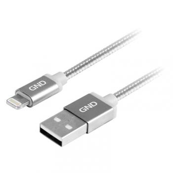 Kabel GND USB / lightning MFI, 1m, opletený titanium