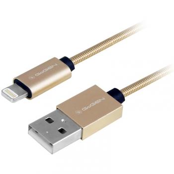 Kabel GoGEN USB / lightning, 1m, ocelový, opletený zlatý