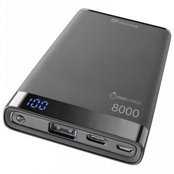 Powerbank CellularLine Freepower Manta S 8000mAh, USB-C černá
