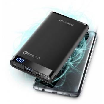 Powerbank CellularLine Freepower Manta Pro 8000mAh, QC 3.0, USB-C černá