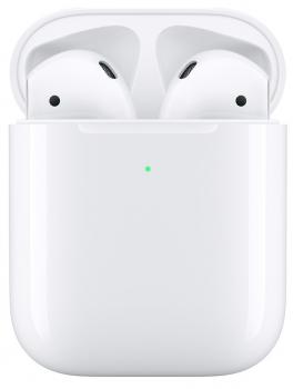 Sluchátka Apple AirPods, bezdrátové nabíjení (2019) bílá