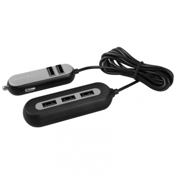 Adaptér do auta Avacom CarHUB 5x USB černý