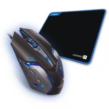 Myš Connect IT Evogear Plus s podložkou černá