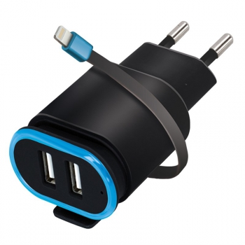 Nabíječka do sítě Forever TC-02, 2x USB, lightning kabel černá