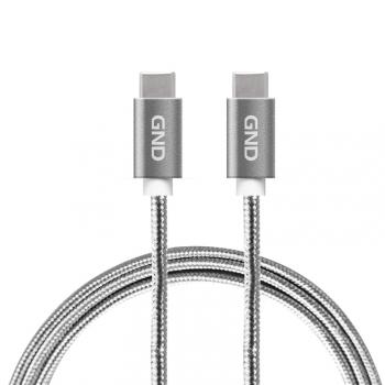 Kabel GND USB-C / USB-C 3.1, PD, 2m, opletený, šedý